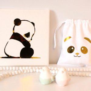 Joli duo Cadre et pochon panda gold