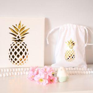 Joli duo Cadre et pochon ananas gold