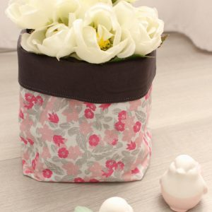Paniers gris plomb fleurs roses