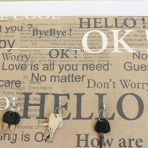 Panneau Cadre porte-clés pratique avec ruban pour courrier Moka