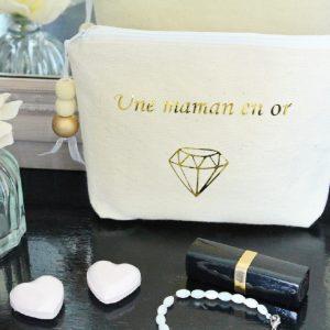 """Trousse Pochette de sac """"Une Maman en Or"""" diamant personnalisable"""