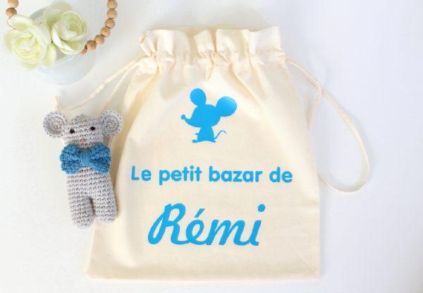 """Pochon sac """"Le petit bazar de ..."""" personnalisable"""