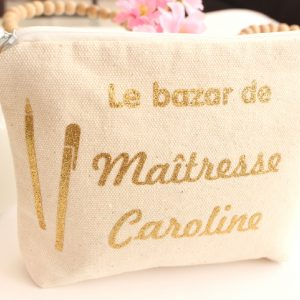 """Trousse Pochette crayons """"Le bazar de"""" Cadeau maîtresse écolier"""