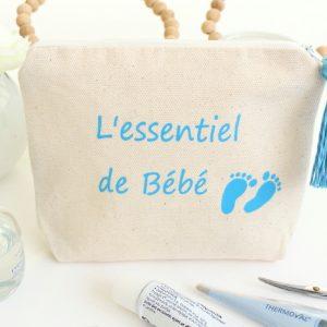 """Trousse Pochette """"L'essentiel de Bébé"""" personnalisable"""