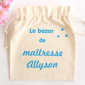 """Pochon sac """"Le bazar de"""" étoiles personnalisable"""
