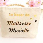 """Trousse Pochette étoiles """"Le bazar de"""" personnalisable"""