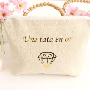 """Trousse Pochette """"Une tata en Or"""" diamant personnalisable"""