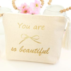 "Trousse Pochette pompon ""You are so beautiful"" à paillettes"