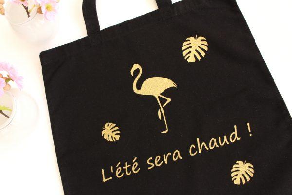 LE Tote Bag de l'été flamant rose feuilles palmiers tropicales