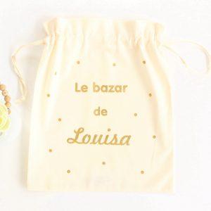 Pochon sac Le bazar de confettis personnalisable doré pailleté