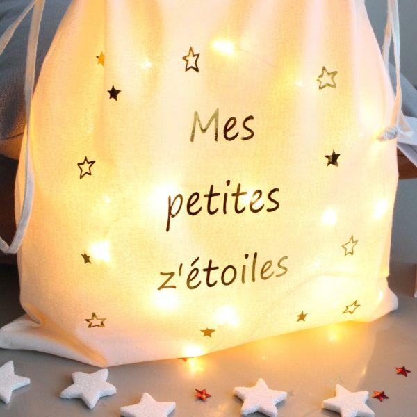 Pochon sac lumineux Mes petites z'étoiles OR Veilleuse Déco