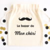 Pochon sac moustache Le bazar de personnalisable