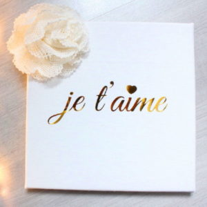 Cadre Je t'aime blanc et or