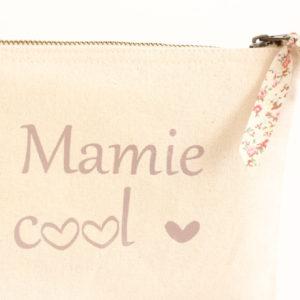 Pochette trousse Mamie cool cœur et Liberty personnalisable