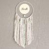 Attrape-rêve Pompon vert d'eau et gris personnalisé avec prénom