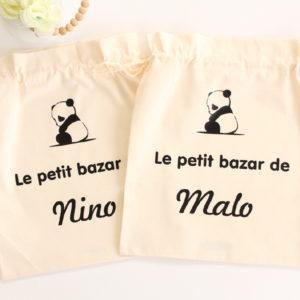 Pochon sac panda Le petit bazar de personnalisable