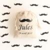 Pochons personnalisés moustache pour dragées baptême mariage communion