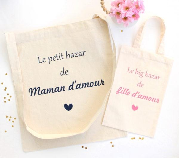 Tote bag Sac Le bazar Duo mère fille d'amour