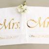 Coussins mariés blanc et or personnalisable avec date