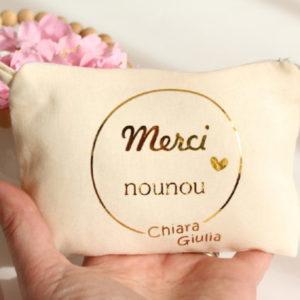 Pochette Porte-monnaie Porte-cartes MERCI nounou or personnalisable