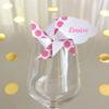 Marque-verre Marque-place Moulin à vent et Nuage gros pois rose