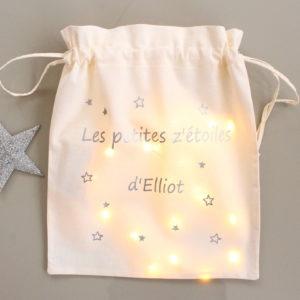 """Pochon lumineux Veilleuse """"Les petites z'étoiles de"""" argent personnalisable"""
