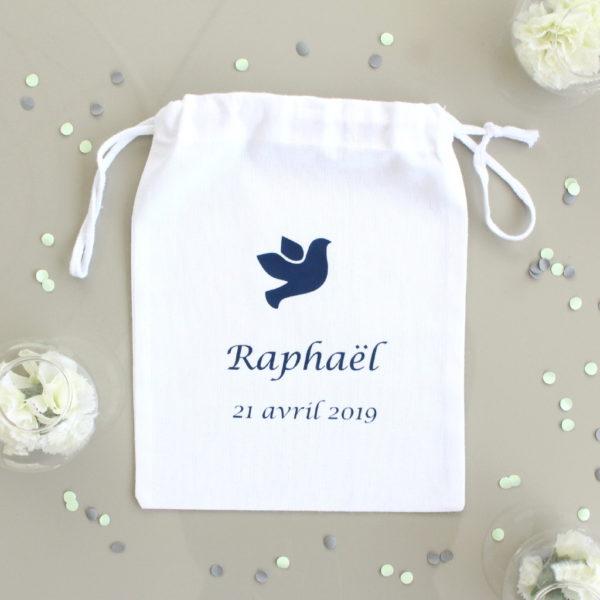 Pochon personnalisé pour Cadeaux invités chocolats baptême communion