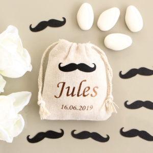 Pochons personnalisés Moustache bicolore pour dragées baptême communion #2