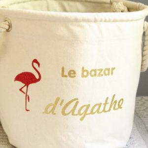 Panier de rangement Flamant Le bazar de personnalisable