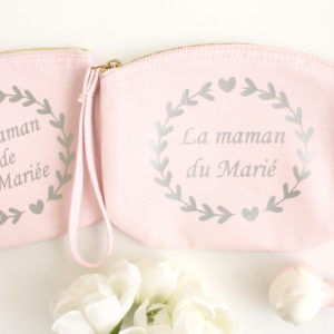Pochette mariage pastel Maman de la mariée et du marié personnalisable
