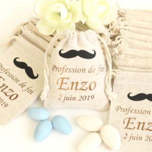 Pochons personnalisés Moustache bicolore pour dragées baptême communion