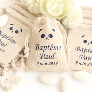 Pochons personnalisés Panda pour dragées baptême mariage communion