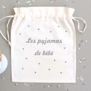 """Pochon sac """"Les pyjamas de bébé"""" confettis personnalisable"""