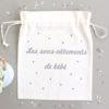 """Pochon sac """"Les sous-vêtements de bébé"""" confettis personnalisable"""
