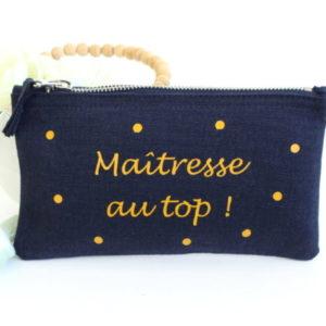 """Trousse pochette """"Maîtresse au top !"""" personnalisable"""