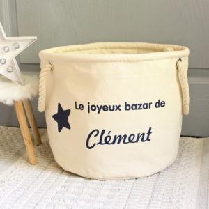 """Panier de rangement Etoile """"Le joyeux bazar de"""" personnalisable"""
