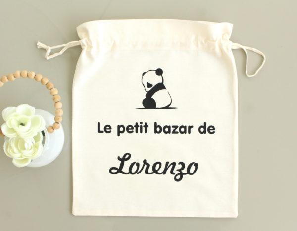"""Pochon sac Panda """"Le petit bazar de"""" personnalisable"""