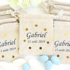 Pochons personnalisés Confettis pois Or pour dragées baptême mariage communion