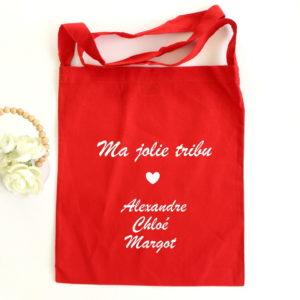 "Tote bag Sac bandoulière rouge ""Ma jolie tribu"" personnalisable"