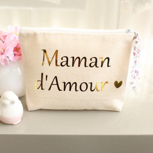 """Pochette trousse """"Maman d'amour"""" cœur et Liberty personnalisable"""