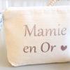"""Trousse Pochette """"Mamie en Or"""" cœur et Liberty personnalisable"""