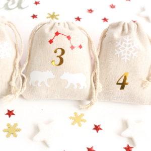 Pochons numérotés (x24) pour Calendrier de l'Avent thème nordique