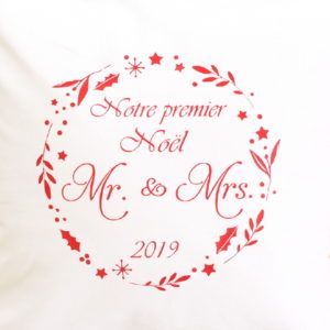 Coussin premier Noël des mariés personnalisable