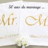 Coussins des mariés anniversaire 50 ans de mariage