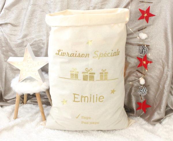 """Sac de Noël Hotte du Père Noël XL """"Enfant sage"""" personnalisable"""