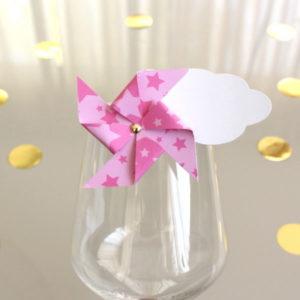 Marque-verre Marque-place Moulin à vent et Nuage étoiles roses
