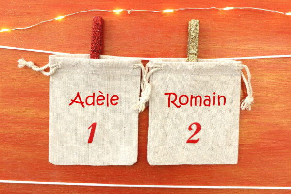 Pochons numérotés (x24) pour Calendrier de l'Avent spécial fratrie personnalisé avec prénoms