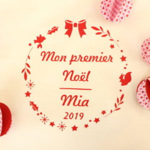 """Sac de Noël Hotte du Père Noël """"Mon premier Noël"""" personnalisable"""