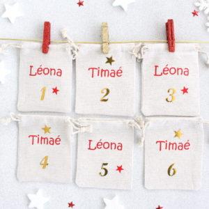 Pochons numérotés (x24) pour Calendrier de l'Avent Familial fratrie personnalisé avec prénoms