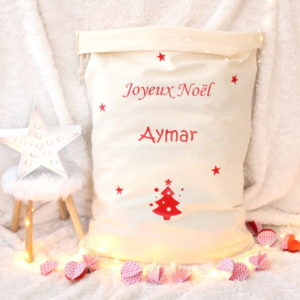 """Sac de Noël Hotte du Père Noël XL """"Joyeux Noël"""" personnalisable"""